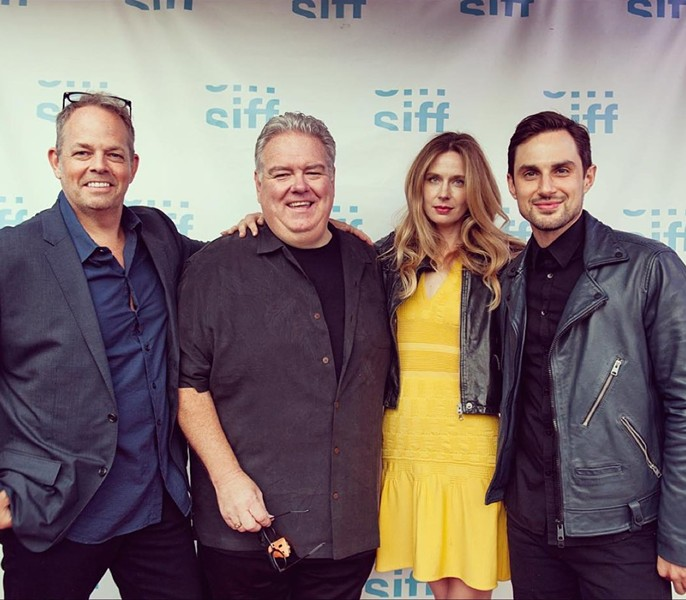 From left to right: Filmmaker Ned Crowley and actors Jim O'Heir, Anne Dudek, and Andrew J. West at the Seattle International Film Festival, where Middle Man won the Grand Jury Prize. - @MCGARRYBOWEN ON TWITTER