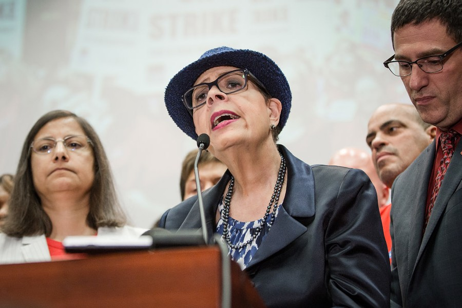 Chicago Teachers Union president Karen Lewis announcing the vote to strike - SANTIAGO COVARRUBIAS/SUN-TIMES