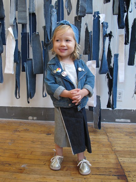 Zel wore a skirt and a headband put together by her parents during the children's denim workshop. - ISA GIALLORENZO