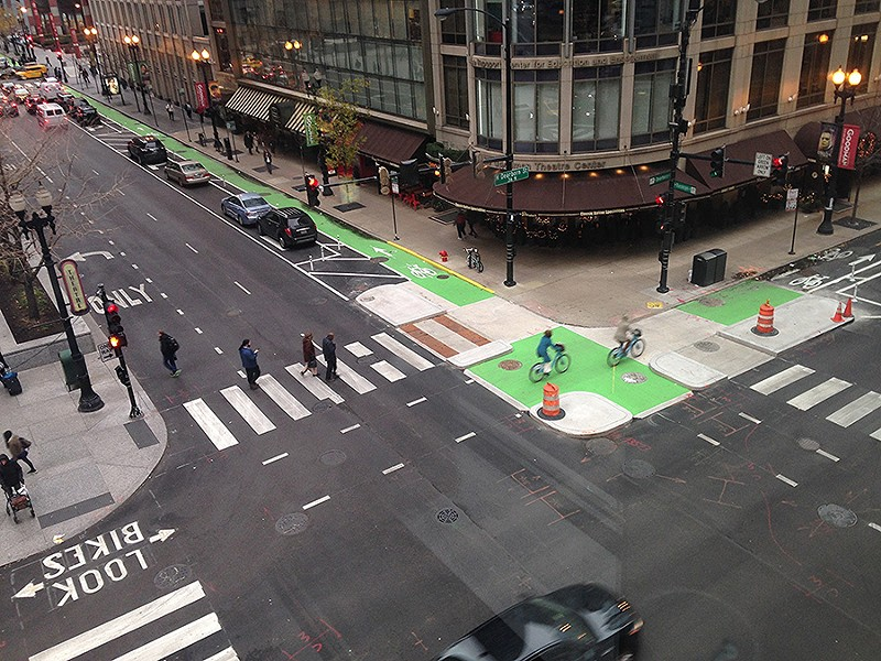 Two protected bike lanes intersect at Randolph and Dearborn - JOHN GREENFIELD