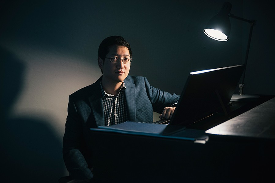Award-winning composer (and University of Chicago professor) Anthony Cheung at his piano; he performed at this year's Ear Taxi Festival. - BEN GEBO