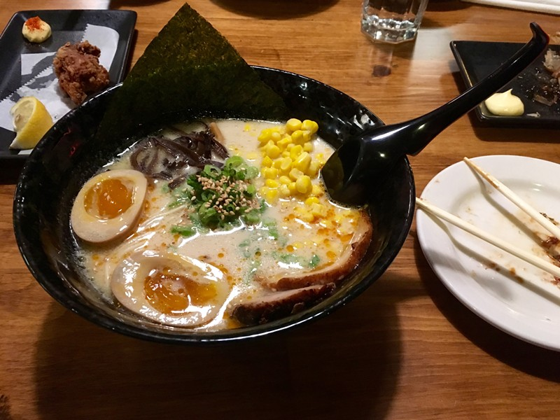 Tonkotsu ramen and the remains of chicken ka-raa-ge. - AIMEE LEVITT