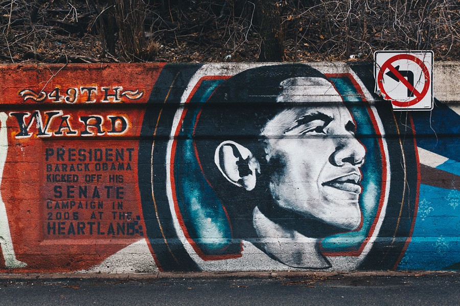A mural at Glenwood and Lunt in Rogers Park commemorates the kick off of Obama's U.S. Senate campaign at the adjacent Heartland Cafe. - DANIELLE A. SCRUGGS