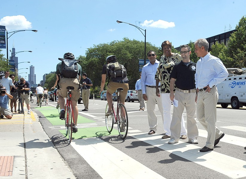 Gabe Klein, second from right, with Mayor Rahm Emanuel and aldermen Ameya Pawer and Pat Dowell in 2012 - RICHARD A. CHAPMAN