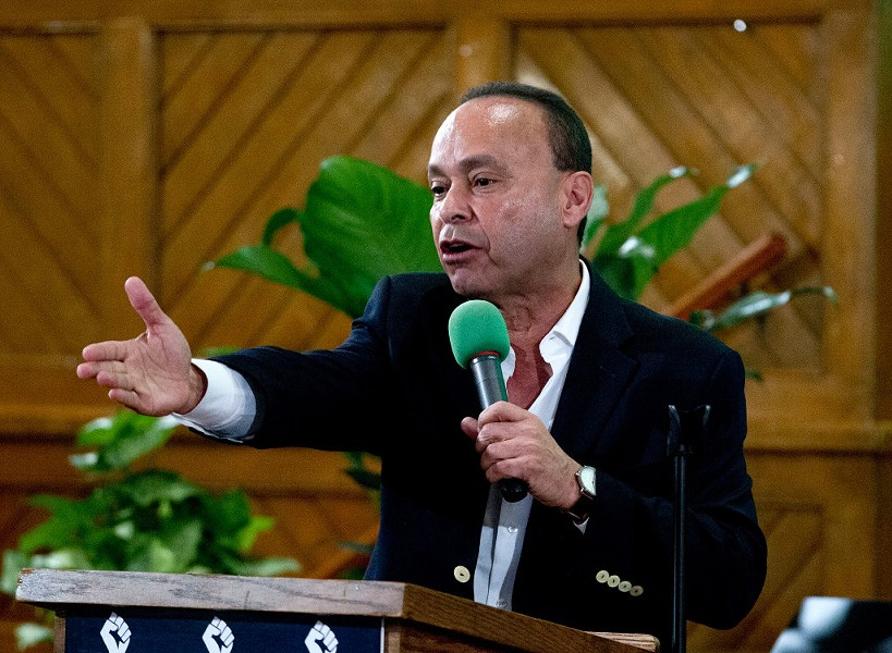 Representative Luis Gutierrez speaks to immigrant rights advocates during a Washington, D.C., rally against President Donald Trump's immigration policies. - AP PHOTO/JOSE LUIS MAGANA