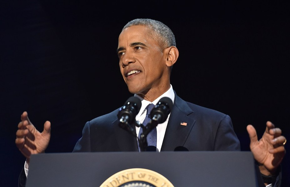 Former president Barack Obama gives his farewell address in Chicago. - NICHOLAS KAMM/AFP/GETTY IMAGES
