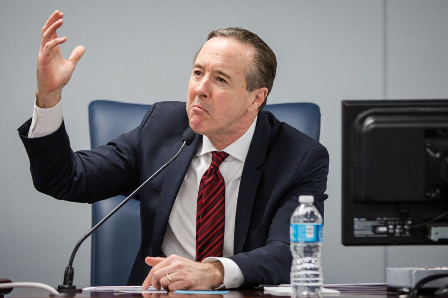 Chicago Public Schools CEO Forrest Claypool responds to speakers at a public hearing hosted by the Chicago Board of Education Monday. - SANTIAGO COVARRUBIAS/SUN-TIMES