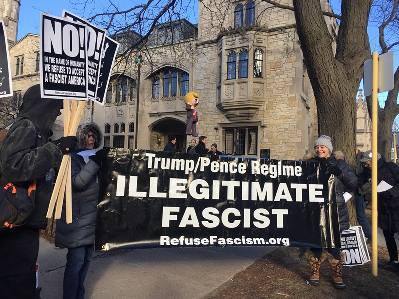 University of Chicago students protested Wednesday the invitation of former Trump adviser Corey Lewandowski to speak the Institute of Politics. - SUN-TIMES MEDIA