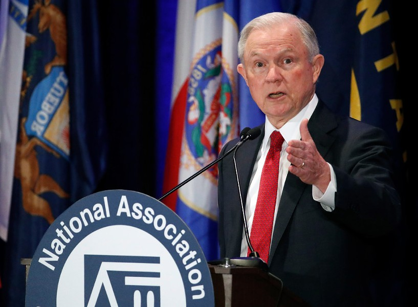 Attorney general Jeff Sessions speaks at the National Association of Attorneys General annual winter meeting in Washington Tuesday. - AP PHOTO/ALEX BRANDON