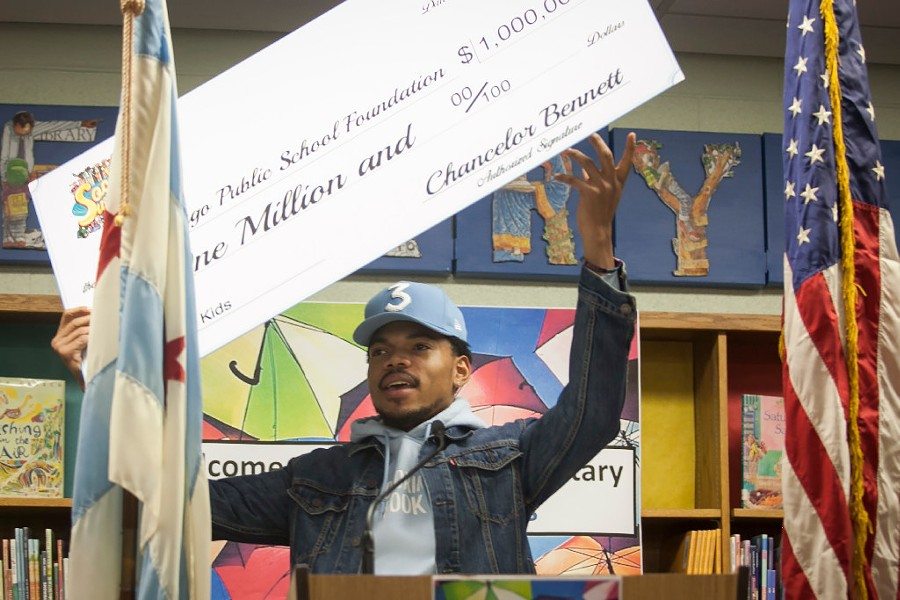 Chance the Rapper announcing a $1 million donation to Chicago Public Schools Monday - ASHLEE REZIN/SUN-TIMES