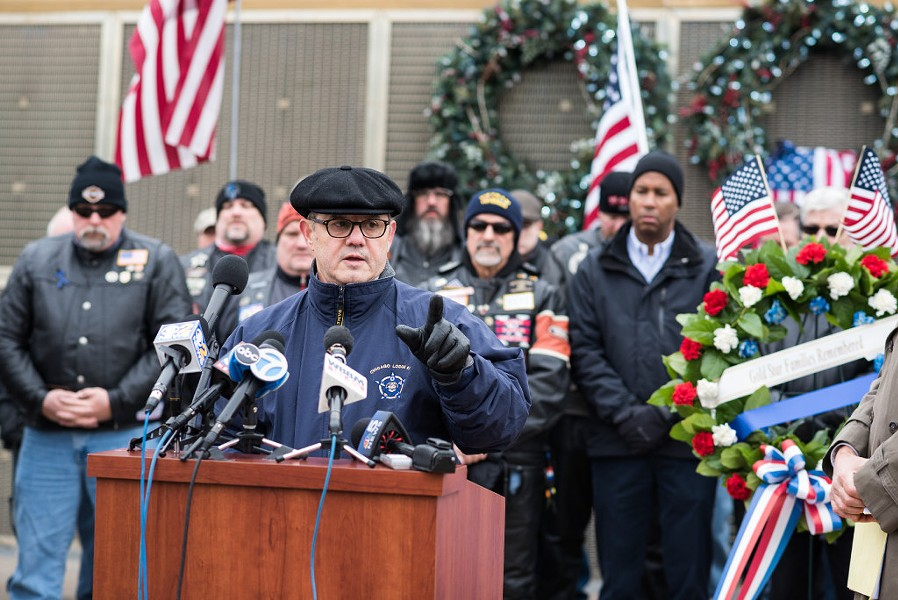 Dean Angelo Sr., president of the Fraternal Order of Police Lodge 7, speaking at a rally outside Soldier Field in December. - MAX HERMAN/FOR THE SUN-TIMES