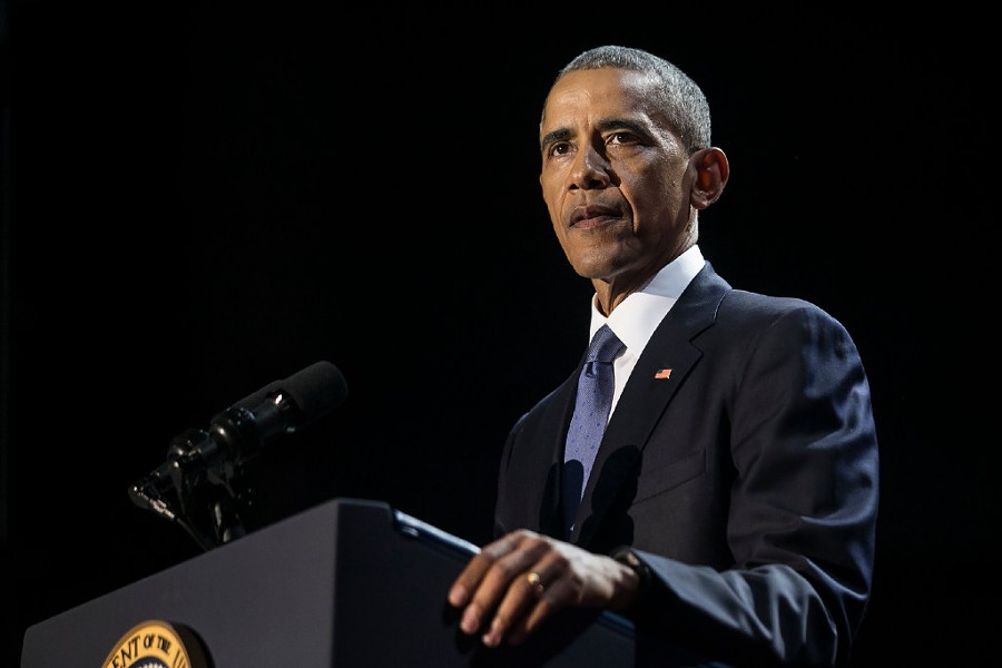 Former president Barack Obama delivers his farewell address at McCormick Place in January. - ASHLEE REZIN/SUN-TIMES