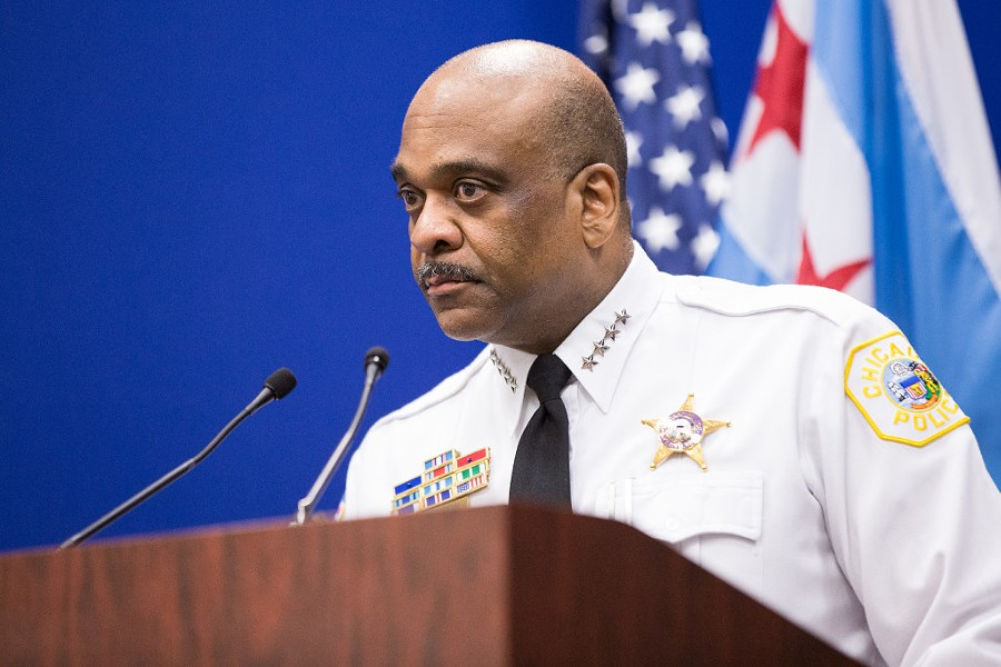 Chicago Police Department superintendent Eddie Johnson announces the newly revised use-of-force policy during a press conference Wednesday. - SANTIAGO COVARRUBIAS/FOR THE SUN-TIMES