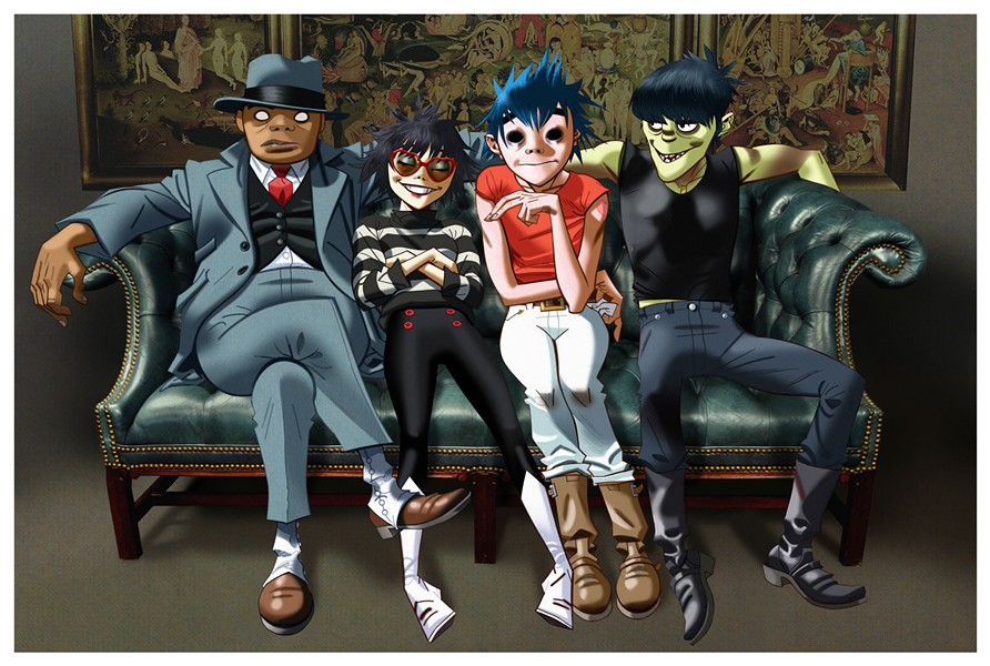 The members of Gorillaz let their avatars do the singing at the Huntington Bank Pavilion on Saturday 7/8 - J.C. HEWLETT
