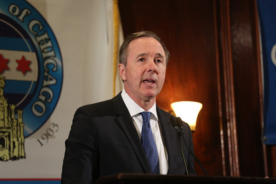 Chicago Public Schools CEO Forrest Claypool speaking to the City Club of Chicago in May - RICH HEIN/SUN-TIMES