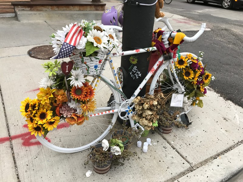 Ghost bike memorial for Anastasia Kondrasheva, the 23-year-old cyclist killed last September when she was crushed by the wheels of a flatbed truck. - JOHN GREENFIELD