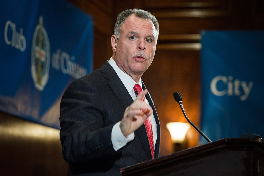 Former Chicago Police Department superintendent Garry McCarthy speaks to the City Club of Chicago. - SANTIAGO COVARRUBIAS/SUN-TIMES