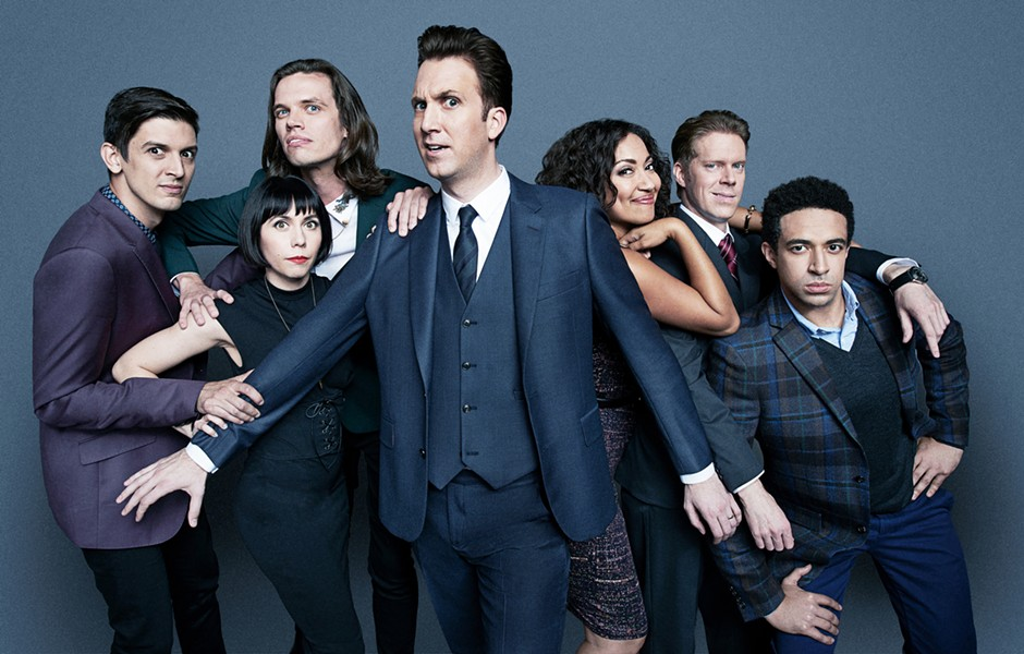 """Jordan Klepper (center) and his cast of """"citizen journalists"""" satirize extreme pundits on The Opposition With Jordan Klepper, debuting Monday, September 25, on Comedy Central. - COMEDY CENTRAL"""