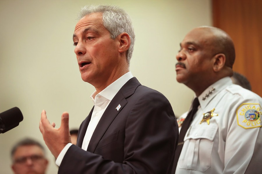 Mayor Rahm Emanuel and Chicago Police Department superintendent Eddie Johnson at an August news conference - PHOTO BY SCOTT OLSON/GETTY IMAGES