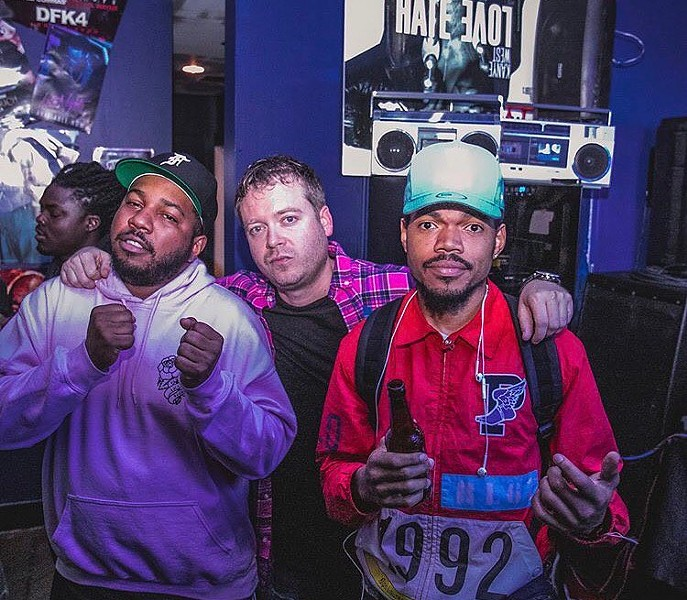 At Fake Shore Drive's recent pop-up, from left to right: DJ Oreo, the Cool Kids' Chuck Inglish, Andrew Barber, and Chance the Rapper - COURTESY OF BUD LIGHT