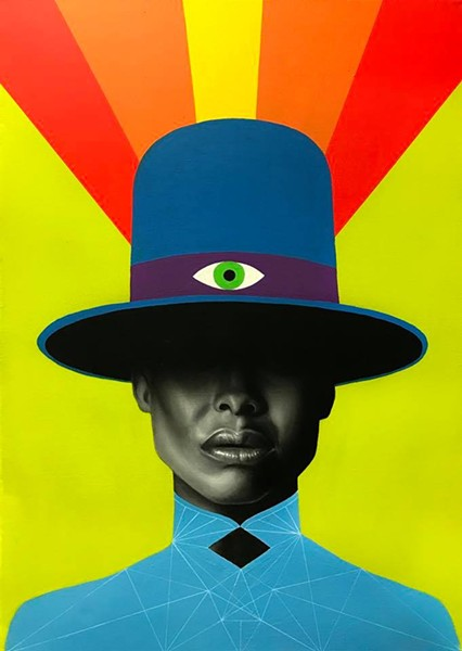 """James Nelson's Badu, one of many portraits on display at """"You, Me and Everyone Else - FACEBOOK"""