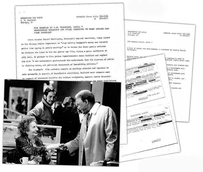 "Clockwise from far left: Askin (center) with Washington; press alert announcing the release of Washington's ""Red Squad"" files; Washington's bill of rights for city workers; Red Squad reports written by undercover police spies"