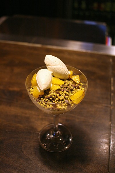 Budino mousse with doenjang, green tea gelato, Korean-style popcorn, and makgeolli, a rice-based Korean alcoholic beverage - JULIA THIEL