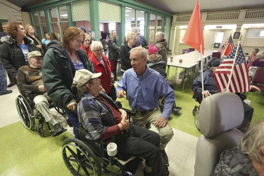 Governor Bruce Rauner at the Illinois Veterans Home in Quincy after a news conference Wednesday - PHIL CARLSON/THE QUINCY HERALD-WHIG VIA AP