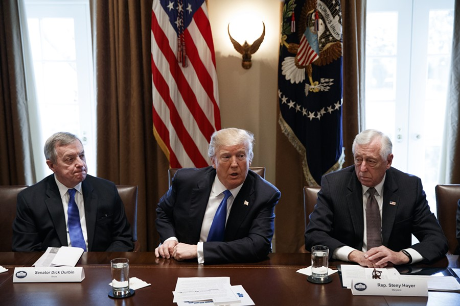 Senator Dick Durbin, President Donald Trump, and Maryland congressman Steny Hoyer at a meeting on immigration policy Tuesday, January 9 - AP PHOTO/EVAN VUCCI