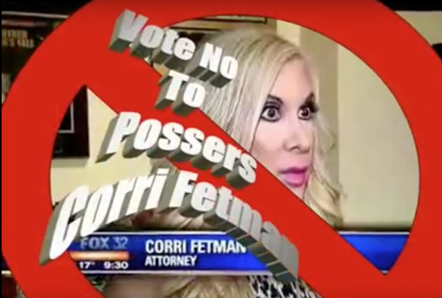 An attack ad lambastes Fetman with photos from her bodybuilding days and includes misspelled word art. - FACEBOOK