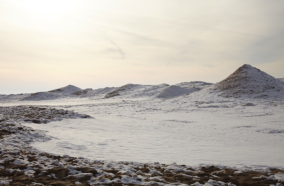 A frozen Lake Michigan (the moon crater was added in Photoshop)