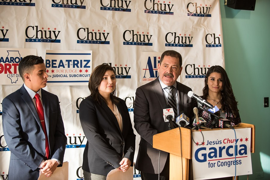 "Jesús ""Chuy"" García introduces a slate of three progressive Latino candidates: Aaron Ortiz, Beatriz Frausto-Sandoval, and Alma Anaya. - SUN-TIMES"