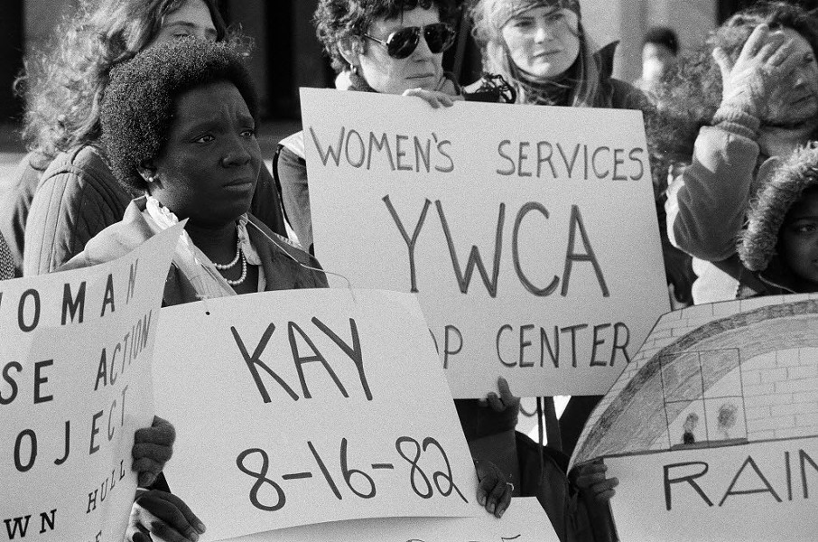 A vigil during the 1982 Day of Remembrance for victims of domestic violence - SUN-TIMES NEGATIVE COLLECTION