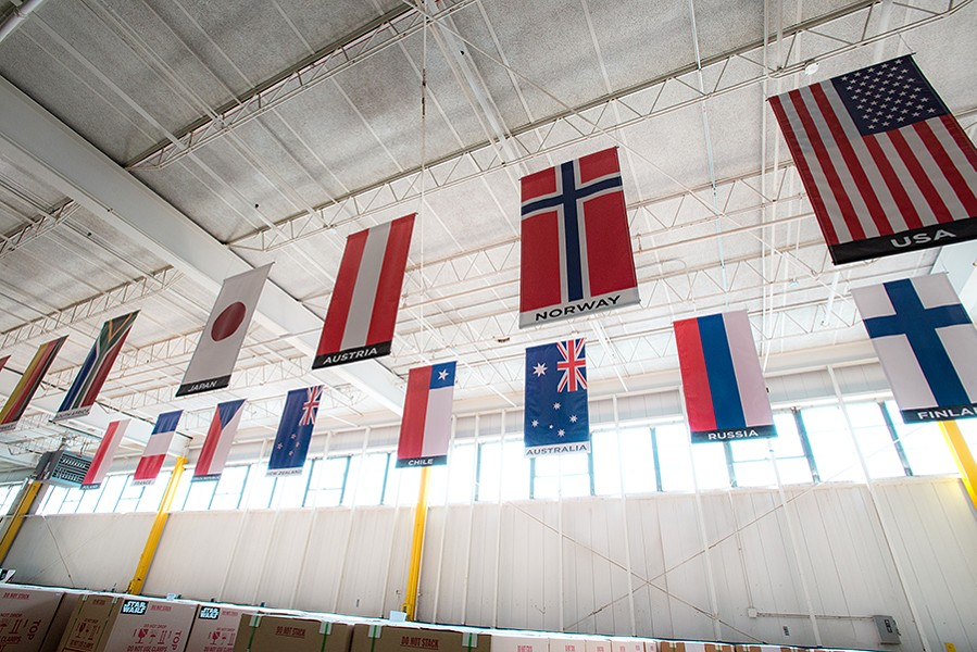 Flags representing all of the countries to which Stern ships pinball machines - JAMIE RAMSAY