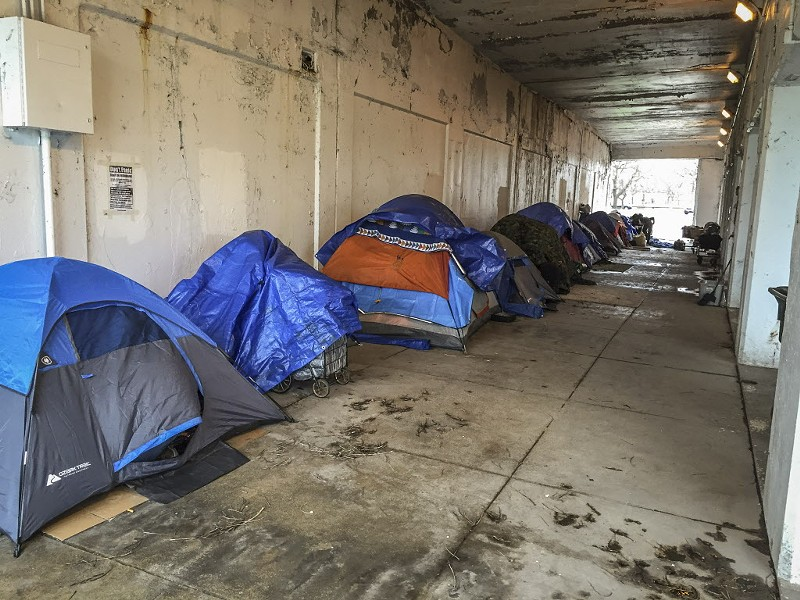 Dozens of people who lived under the Lake Shore Drive viaducts in Uptown have been displaced since construction began in September 2017. - MARK BROWN/SUN-TIMES