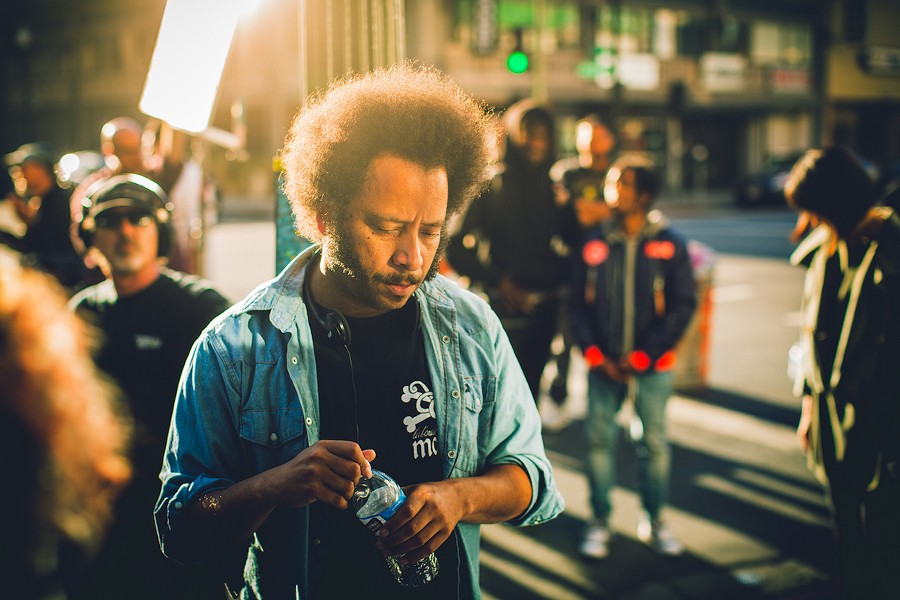 Boots Riley on the set of his debut film Sorry to Bother You - ANNAPURNA PICTURES