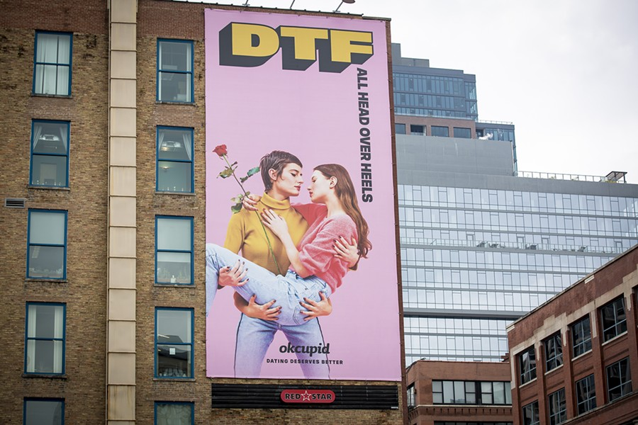"One of OKCupid's ""DTF"" ads in Chicago the company says have been banned by several local agencies. - OKCUPID"