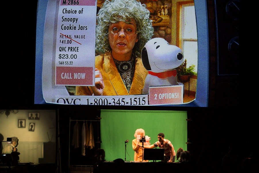 Vanessa Valliere is a QVC home shopping host in Manual Cinema's The End of TV. Below the screen are Valliere and fellow cast member/puppeteer Jeffrey Paschal. - JUDY SIROTA ROSENTHAL