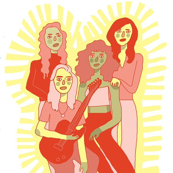 From left: Nilüfer Yanya, Julien Baker, Ravyn Lenae, and Lucy Dacus - ILLUSTRATION BY ANNA WHITE