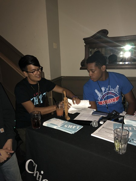 The voter registration table at last night's event
