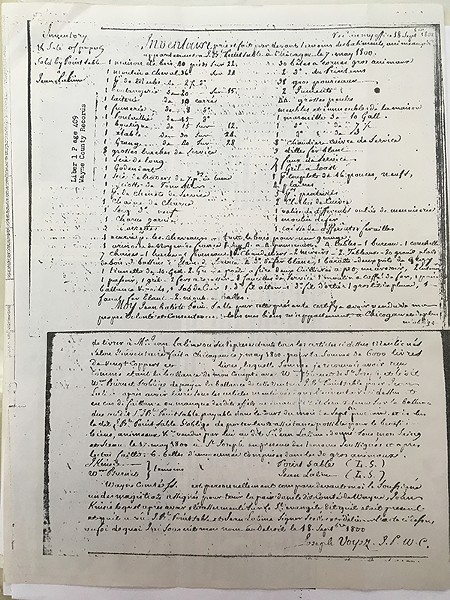 The record of the sale of Jean Baptiste Point Du Sable's trading point to Jean Lalime in 1800, witnessed by John Kinzie - WAYNE COUNTY REGISTER OF DEEDS