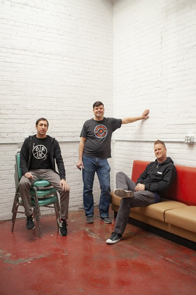 John Lombardo, Steve Polutnik, and Andy Weber of Smashed Plastic in the plant's listening room and bar - ADAM JASON COHEN