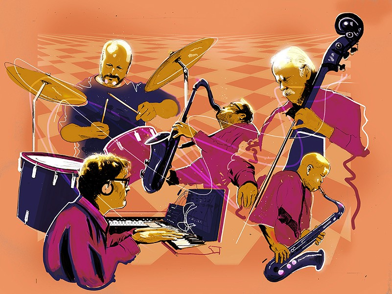 Extraordinary Popular Delusions, clockwise from upper left: Steve Hunt, Mars Williams, Brian Sandstrom, Edward Wilkerson Jr., and Jim Baker. Wilkerson usually plays with the group only when Williams can't. - ILLUSTRATION BY JOHN GARRISON