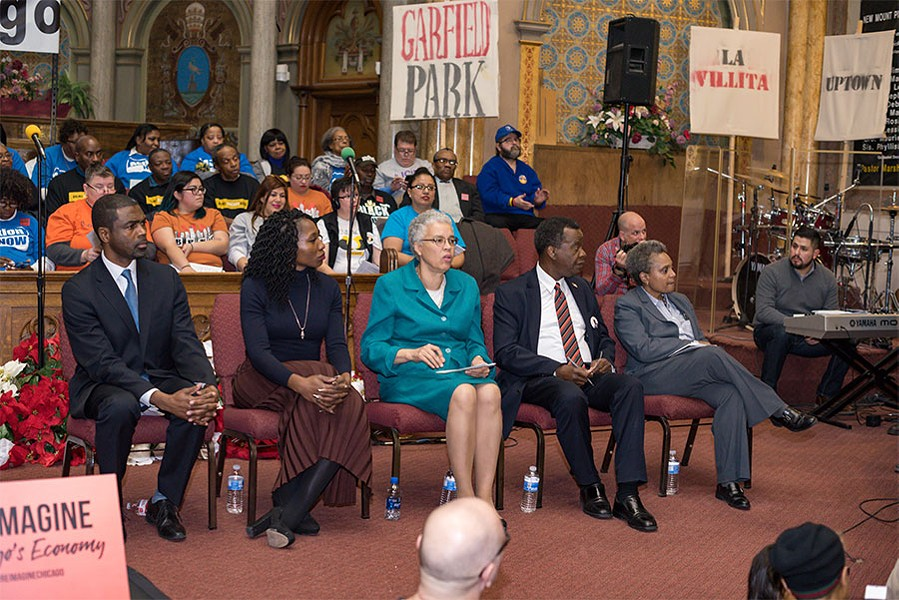 Last week's #ReimagineChicago Mayoral Forum, hosted by the Grassroots Collaborative at New Mount Pilgrim Missionary Baptist Church in West Garfield Park - SARA JANE RHEE/GRASSROOTS COLLABORACTIVE