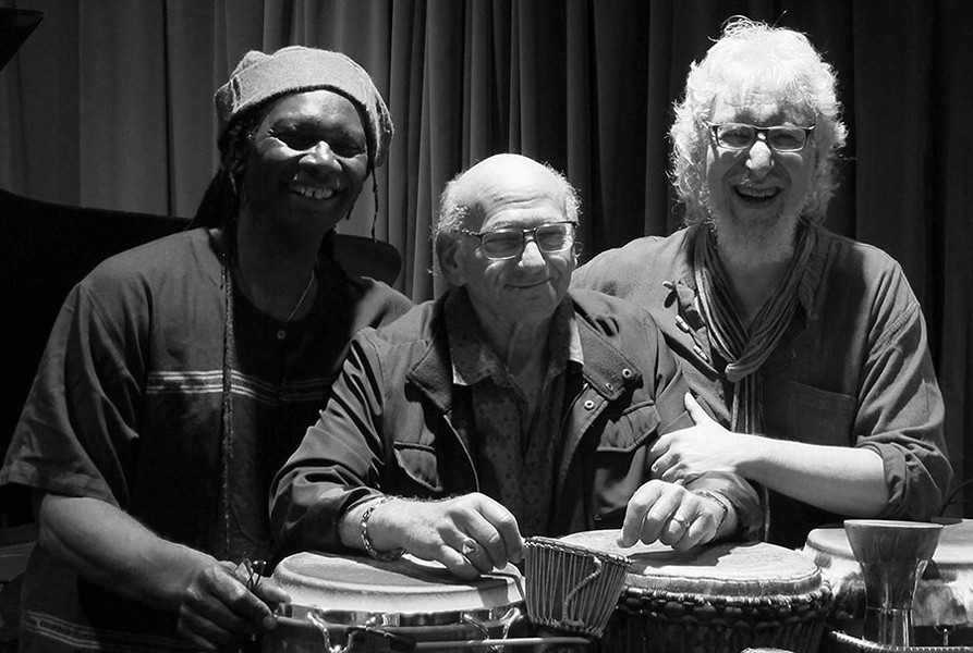 Hamid Drake, Dave Liebman, and Adam Rudolph improvise together on the new album Chi. - MAS YAMAGATA