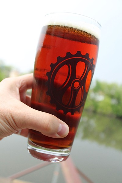 My half-liter glass of Cold Hope on the river overlook of the Metropolitan taproom - PHILIP MONTORO