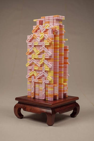 HSBC Main Building, PEZ candy on Chinese stand, 2016, by Percy Lam - HILLARY JOHNSON FOR CHICAGO READER