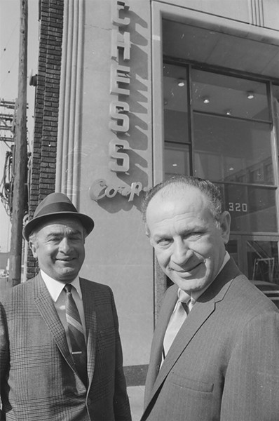 Phil and Leonard Chess in front of Chess Records at 320 E. 21st in March 1968. The building is now Chess Lofts. - ST-40001688; CHICAGO SUN-TIMES COLLECTION; CHICAGO HISTORY MUSEUM. © SUN-TIMES MEDIA; LLC. ALL RIGHTS RESERVED.