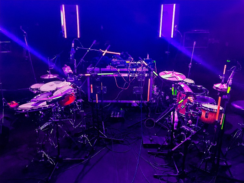 A portion of HHY & the Macumbas' stage setup, minus the personnel - COURTESY NYEGE NYEGE TAPES