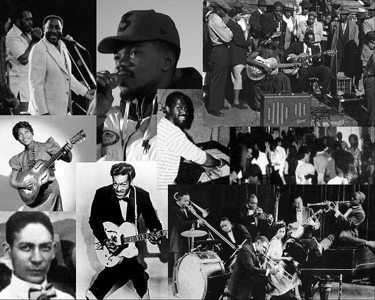 Top: Muddy Waters, Chance the Rapper, Maxwell Street. Middle: Sister Rosetta Tharpe, Frankie Knuckles, dancers at the Warehouse. Bottom: Jelly Roll Morton, Chuck Berry, King Oliver's Creole Jazz Band featuring Louis Armstrong and Lil Hardin. - ALL PHOTOS PUBLIC DOMAIN EXCEPT MUDDY WATERS (CC: JEAN LUC OURLIN) AND CHANCE THE RAPPER (CC: FOX SPORTS)